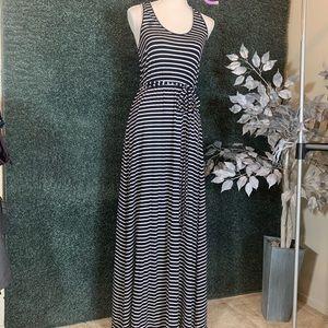 J. Crew Navy Blue & White Stripped Maxi Dress